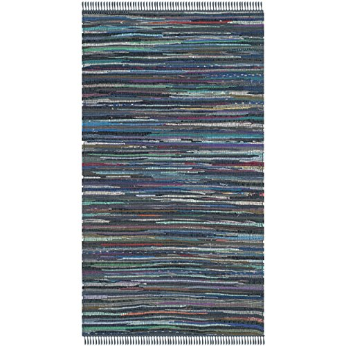 Safavieh Rag Rug Collection RAR121C Handmade Ink and Multicolored Cotton Area Rug, 3 feet by 5 feet (3' x 5')