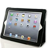 EasyAcc Leder Hülle Case für  Apple Das Neue iPad 3 / iPad 4  Folio Tasche Schutzhülle (Case Cover) mit Aufsteller / Auto Sleep & Auto Wake Funktion(Compatible with the new iPad 3/iPad 4, Not for iPad 2) - Schwarz, High Quality Pu Leather