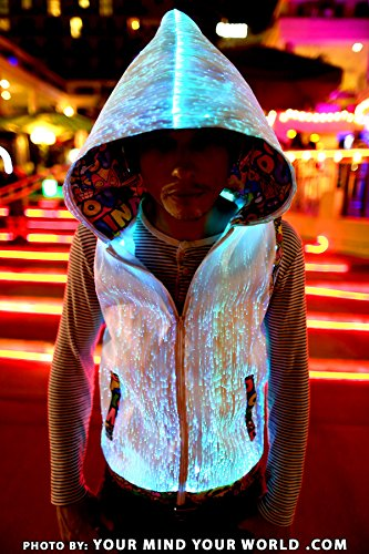 fiber optic glowing mens hoodie burning man rave party glow in the