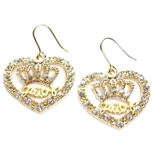 Gold Designer Inspired Heart and Crown Crystal Fashion Earrings