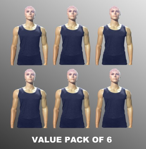 Value Pack Of 6 Thermal Underwear Sleeveless Vest Denim, Various Sizes