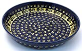 Bunzlauer Polish Pottery Traditional Pie Plate, Blue with Yellow and Green