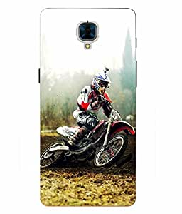 Make My Print Racing Bike Printed Multicolor Hard Back Cover For OnePlus 3