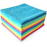 "MICROFIBER CLOTH 14"" x 14"" - 8 PACK - COLORFAST SUPER CLEANING: ALL PURPOSE, LINT FREE, ANTIBACTERIAL, HIGH ABSORBENT, SCRATCH FREE. Versatile Micro Fiber Cloths Used As Towels, Wipes, Washcloth or Rags, For Windows & Mirror Cleaner; For Drying Dishes & Polishing, For Houses or Hotel Supplies, For Car / Auto Detailing. Color-Code With 4 Bright Colors, And Get Your Home Eco-Friendly Without Using Harmful Detergents Or Chemicals (Just Water) And Start Saving Money Over Conventional Cleaners Today! By Dunin'Dustid."