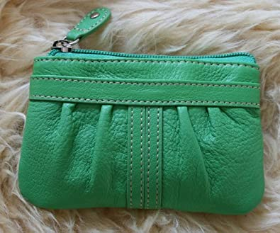 Genuine Soft Leather Coin Purse Wallet with RUCHED Front pocket - Super Cute