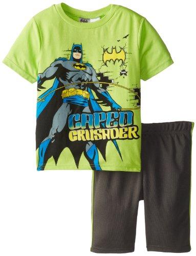 Warner Brothers Little Boys' Batman Short Set, Green, 7 front-978504