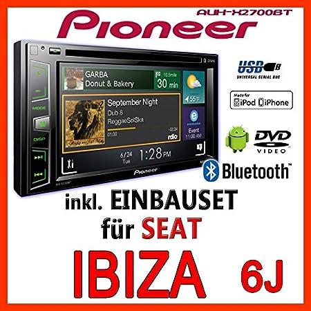 Seat ibiza 6J-gris clair-pioneer aVH-x2700BT 2-dIN pour autoradio multimédia avec bluetooth et application