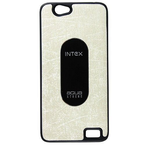 Casotec Metal Back TPU Back Case Cover for Intex Aqua Xtreme - White  available at amazon for Rs.119