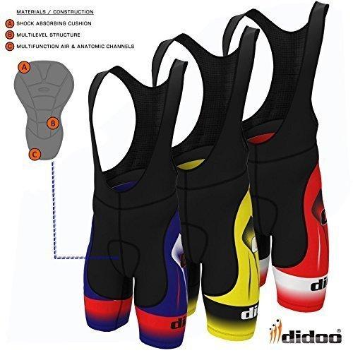 Didoo Pro Uomo Salopette Da Ciclismo Coolmax Imbottitura Alta Qualità Strato Di Base Pantaloni - Giallo Rosso Blu - Blu / Nero, L