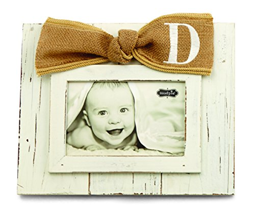 Mud Pie Planked Monogram Bow Frame, D