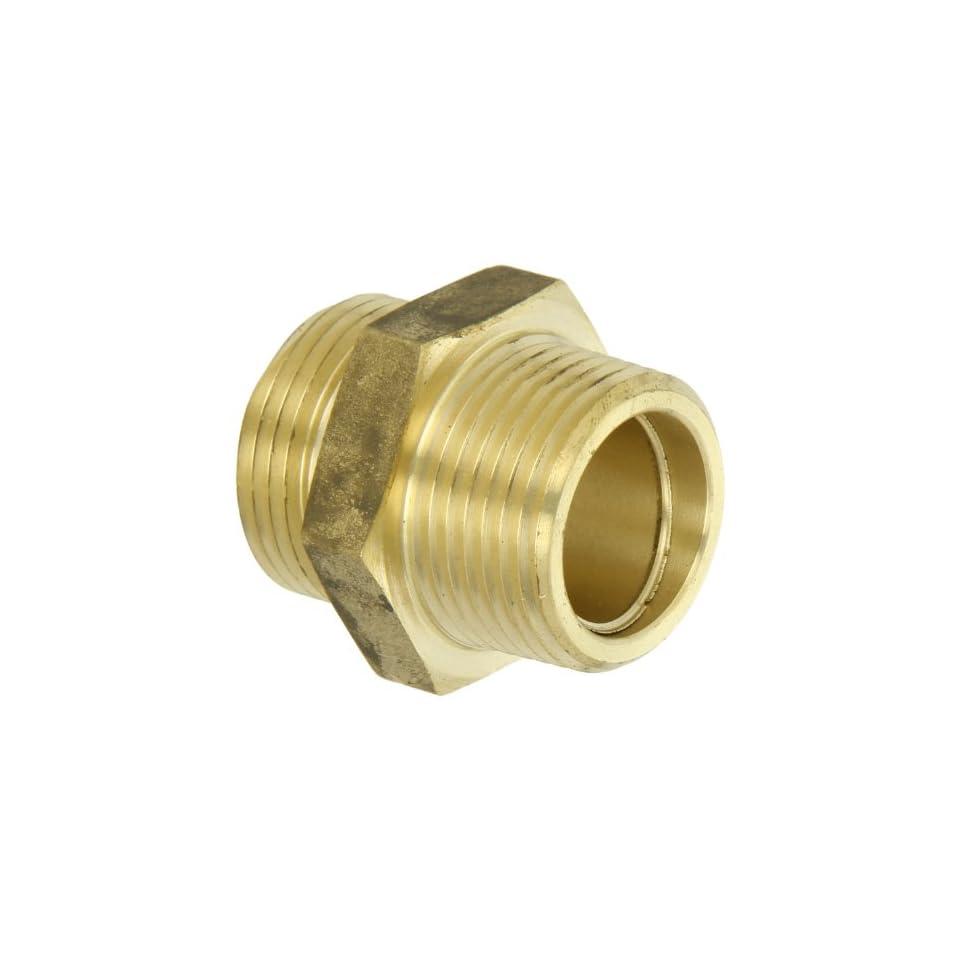 Moon 358 1061011 Brass Fire Hose Adapter, Nipple, 1 NPT Male x 1 NPSH Male