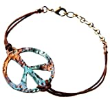 Peace Symbol Hand Hammered Bold Iridescent Adjustable Cord Bracelet
