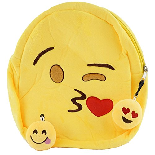 Best Emoji Backpack for Boys & Girls, Rave or School Ready Winky Face Emoji Bag with Free Keychain (Throwing Kiss)
