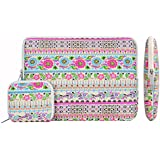 Laptop Sleeve, Mosiso New Bohemian Style Sunflower Paradise Canvas Fabric 13-13.3 Inch Laptop / Notebook Computer / MacBook / MacBook Pro / MacBook Air Sleeve Case Bag Cover with Macbook Charger Case, Rose Red
