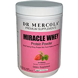 Dr. Mercola Miracle Whey Protein Powder Strawberry - Great Tasting Whey Protein Mix - Naturally Flavored And Colored - Certified GMO, Pesticide, And Chemical-Free - 1 lb Jar