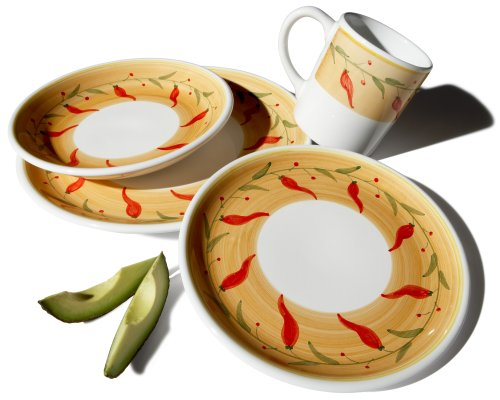 Caleca Chili Peppers 16-Piece Dinnerware Set, Service for 4