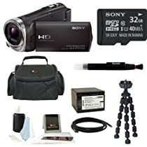 Sony HDR-CX330 Full HD Handycam Camcorder (Black) + Sony 32GB Memory Card + Focus Soft Photo and Video Medium Case + Focus 5 Piece Digital Camera Accessory Kit + Accessory Kit