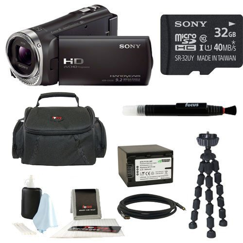Sony HDR-CX330/B HDRCX330 CX330 Full HD Handycam Camcorder (Black), Sony 32GB Memory Card, Soft Shell Camera Gadget Bag, Focus 5 Piece Digital Camera Accessory Kit, Wasabi Power Battery for Sony NP-FV100, and Accessory Kit