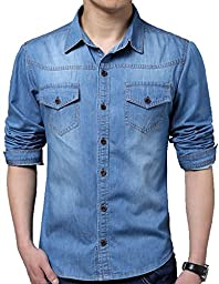 QZUnique Men\'s Big and Tall Autumn Fashion Classic Long Sleeve Denim Shirt Blue US XL/Asian 2XL