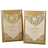 PONATIA 25PCS Laser Cut Invitations Cards Luxury Diamond Gloss Design Wedding Bridal Shower Invitation Baby Shower Engagement Birthday Invitation Graduation (Dark Gold) (Color: Dark Gold)