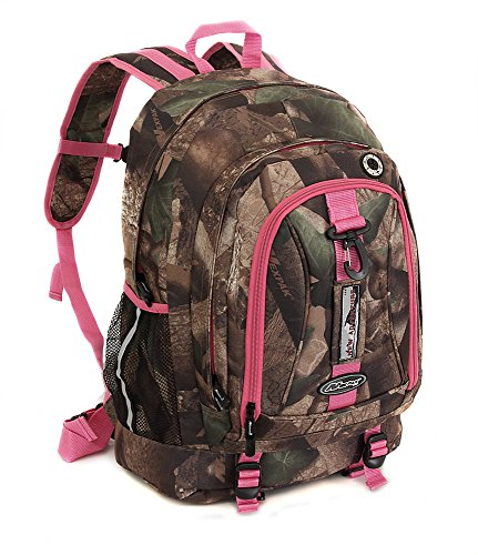 Womens Nexpak BP029DCPK Pink Hunters Camo 19.5 Inch Organizer Laptop Backpack School Book Bag with Key Ring Carabiner
