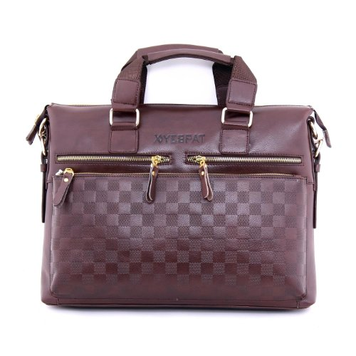 Yespat® New Men's Laptop Bag 14'' Full Grain Genuine Leather Cowhide Shoulder Bag Tote Briefcase BY201-BRN
