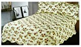 Rose Floral Queen Size Bedspread - Rose Floral Cotton Queen Bedspread And Pillowcases (3pcs Quilt Set)