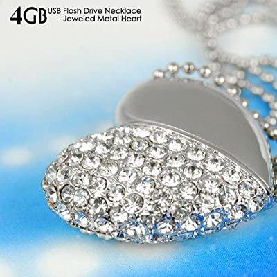 4GB USB Flash Drive Necklace - Jeweled Metal Heart USB memory stick Pendant - Ideal Gift from Giftronix