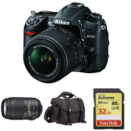 Nikon D7000 Digital SLR w/ 18-55mm and 55-300mm Lens plus Free DSLR Bag and Memory Card i