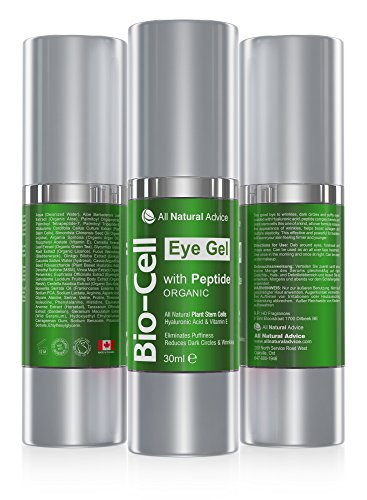 BEST Bio Cell Under Eye Gel Cream For Your Face • 30 ml • Organic • Removes Circles Puffiness and Bags • Peptide Hyaluronic Acid Plant Stem Cells • Boosts Collagen