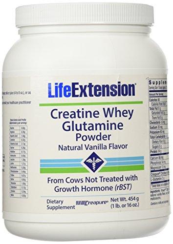 Life Extension Creatine-Whey-Glutamine Powder, Vanilla, 1 Pound