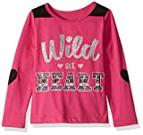 Dream Star Toddler Girls Screen Top with Faux Yoke and Heart Elbow Patches, Raspberry Red./Black Suede, 2T