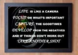 STUNNING FRAMED LIFE INSPIRATIONAL PHOTOGRAPHY QUOTE / PRINT / LIFE IS LIKE A CAMERA