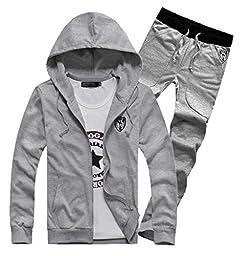 Men\'s Fashion Sportswear Hoodie + Sweatpants Casual Pants Suits XS Gray