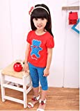 TheTickleToe Girls Cotton Red Blue T-Shirt And Slacks Set 5-6 Years