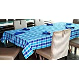 Lushomes Yarn Dyed Blue Checks 6 Seater Table Cloth & Napkins Set