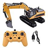 HUINA 1580 2.4G 1:14 23CH 3 in 1 Rc Hydraulic Excavator Electric Excavator Engineering Vehicle Remote Control Truck Autos Toy Yellow (Color: Clear, Tamaño: Standard)