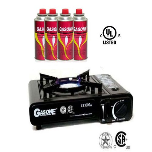 GAS ONE Portable Butane Gas Stove With 4 Butane Fuel by GASONE