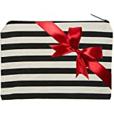 Striped Canvas Zipper Pouch - Novelty Make up Carry All Zip Bag - Chic Way To Organize Travel Toiletries & Cosmetics, Baby & Pet Items, Electronics & Cell Accessories, Pencil & Pens