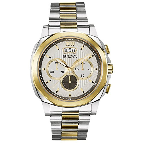 Bulova Classic Dress Men's Quartz Watch with Silver Dial Analogue Display and Gold/Silver Ion-Plated Bracelet 98B232