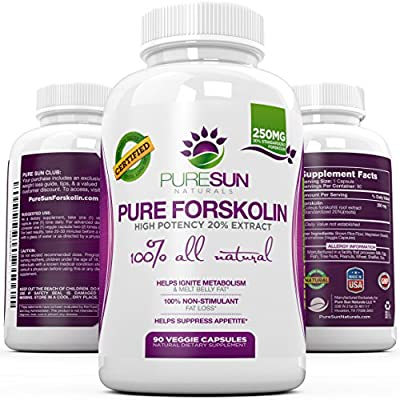 100% Forskolin Standardized to 20% ? Fast Weight Loss Supplement, Fat Burner, & Metabolism Boost ? Premium Pure & Potent Coleus Forskohlii Extract ? 250mg per Capsule ? 90 Caps ? by Pure Sun Naturals