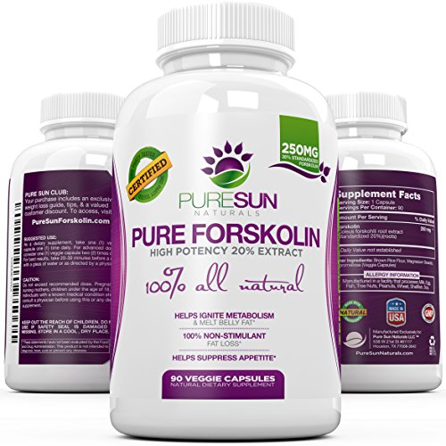 100% Pure & Potent Forskolin Extract 90 Capsules - Fast Weight Loss Supplement, Fat Burner, & Metabolism Boost - Premium Coleus Forskohlii Standardized at 20% by Pure Sun Naturals (250mg per Capsule)