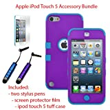MINITURTLE, Premium Sleek Dual Layer 2 in 1 Hybrid Protective TUFF Case Cover, Two Mini Stylus Pen, and Screen Protector Film for Apple iPod Touch 5 5th Generation (Purple / Blue)