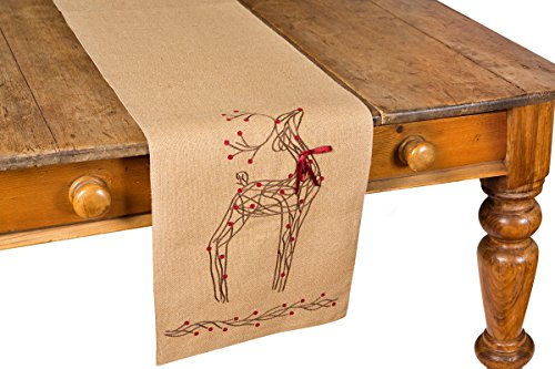 Xia Home Fashions Rustic Reindeer Jute Christmas Table Runner, 13 by 54