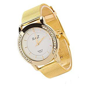 Fashion Women's Rhinestone Golden Color Mesh Band Analog Quartz Wrist Watch