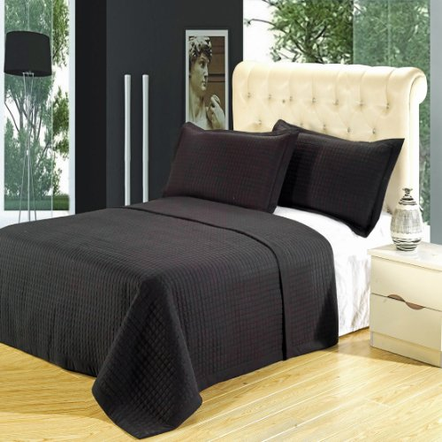 Luxury Twin Black Checkered Quilted Wrinkle Free Microfiber 2 Piece Coverlets Set front-1033832