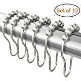 Hooks & Rings Shower Curtain Rings, Metal Roller Shower Curtain Hooks, Lifetime Warranty! Set Of 12 Rustproof Nickel Plated Brass & Stainless Steel Bathroom Curtain Rings, Clips Easy Stays On Tight