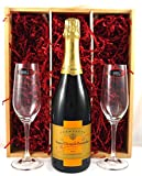 Veuve Clicquot Vintage Rich Champagne with two Riedel Crystal Champagne glasses in a wooden luxury gift box for Corporate, Christmas, Xmas Gifts, Wedding, Anniversary present