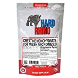 Hard Rhino Creatine Monohydrate Micronized 200 Mesh Powder, 125 Grams