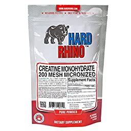 Hard Rhino Creatine Monohydrate Micronized 200 Mesh Powder, 125 Grams (4.4 Oz), Unflavored, Lab-Tested, Scoop Included